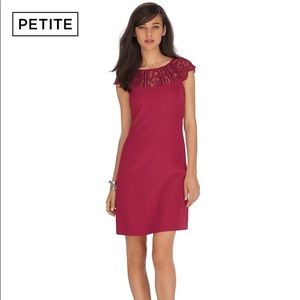 PETITE CAP SLEEVE RED LACE SHIFT DRESS